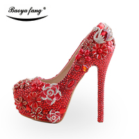 BaoYaFang New arrival Luxury red Crystal Swan womens wedding shoes Bride high heels platform party shoes female High Pumps
