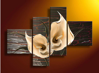 Abstract Pianting Flowers Callas Lily Home Decoration Hand Painted Paintings Brown Cheap Modern Art Oil Painting