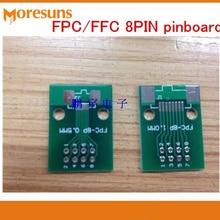 Быстрая 100 шт./лот FPC 8PIN Pinboard FFC поворот 2,54 мм DIP TFT ЖК-разъем 1 мм 0,5 мм расстояние двухсторонняя печатная плата адаптер