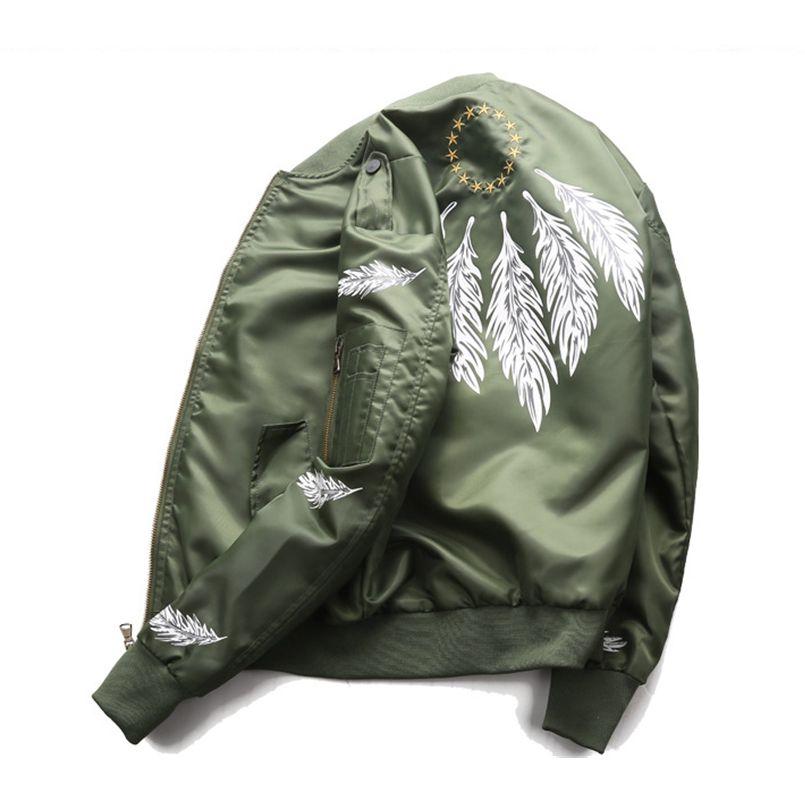 Feder Druckpaar Fliegen Air Force Jacke Männer Ma-1 Bomber Jacke Frühling/Herbst Windjacke Military Outwear Mode Top Mantel