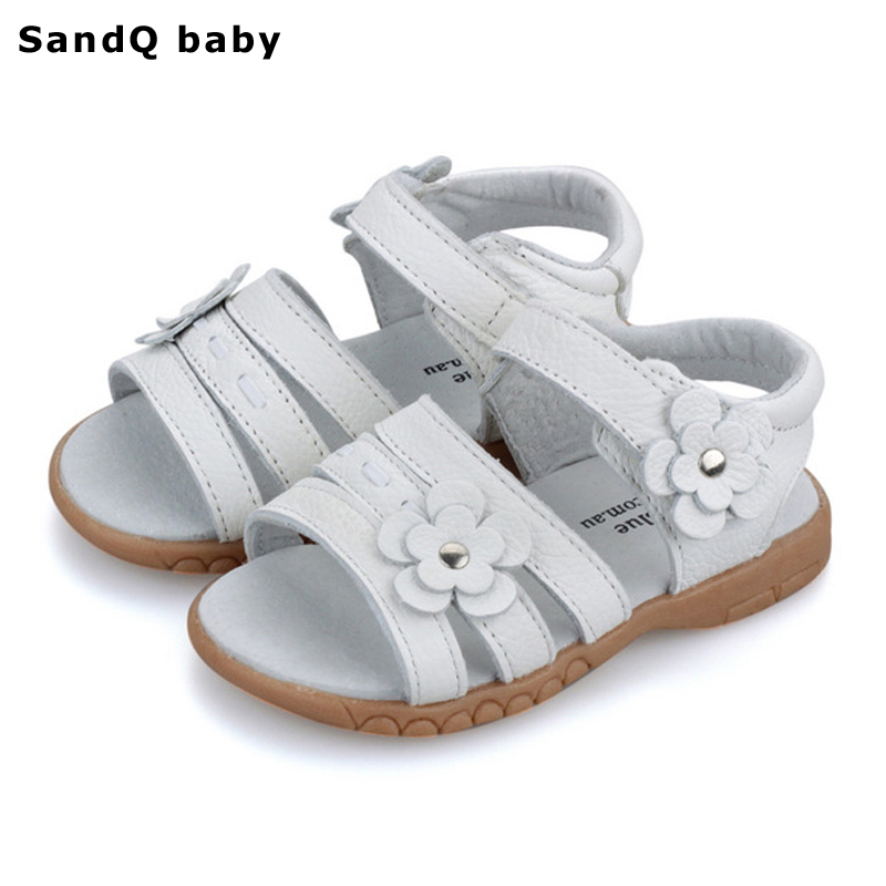 Kids Sandals 2019 Sommar Äkta Läder Barn Sandaler för Flickor Flower Girls Princess Skor Andas Baby Girls Sandaler