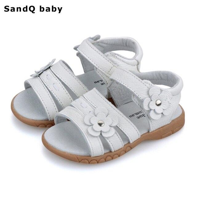 Kids Sandals 2019 Summer Genuine Leather Children Sandals for Girls Flower Girls Princess Shoes Breathable Baby Girls Sandals