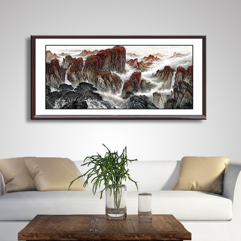 MiMountain en River art schilderen Chinese traditionele landschap mountain en rivier schilderen Chinese Wassen schilderen WP 001 - 3