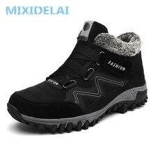 MIXIDELAI/Брендовые мужские замшевые Теплые ботильоны на меху; кожаные мужские ботинки; мужские зимние водонепроницаемые ботинки; большие размеры 38-46