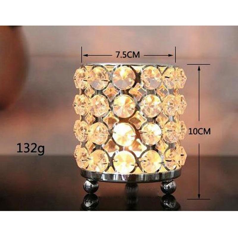 3pc / lot Kristalları olan yeni metal şamdan tutacaqlar gümüş - Ev dekoru - Fotoqrafiya 6
