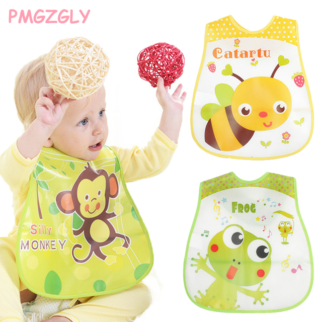 Adjustable EVA Plastic, Waterproof, Feeding Baby Bibs