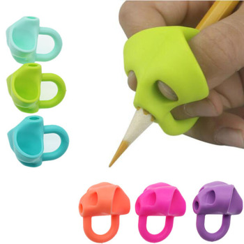 3pc Magic Grip Pencil Help Beginner Writing Silicone Toys Baby Double Thumb Posture Correction Pen Tool Student Education 1