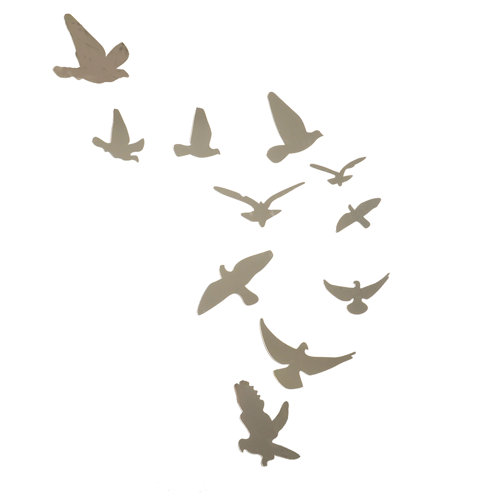 Silver Acrylic Birds Design Mirror Effect Wall Sticker Artistic Modern Home  Room Decor Decoration Craft(
