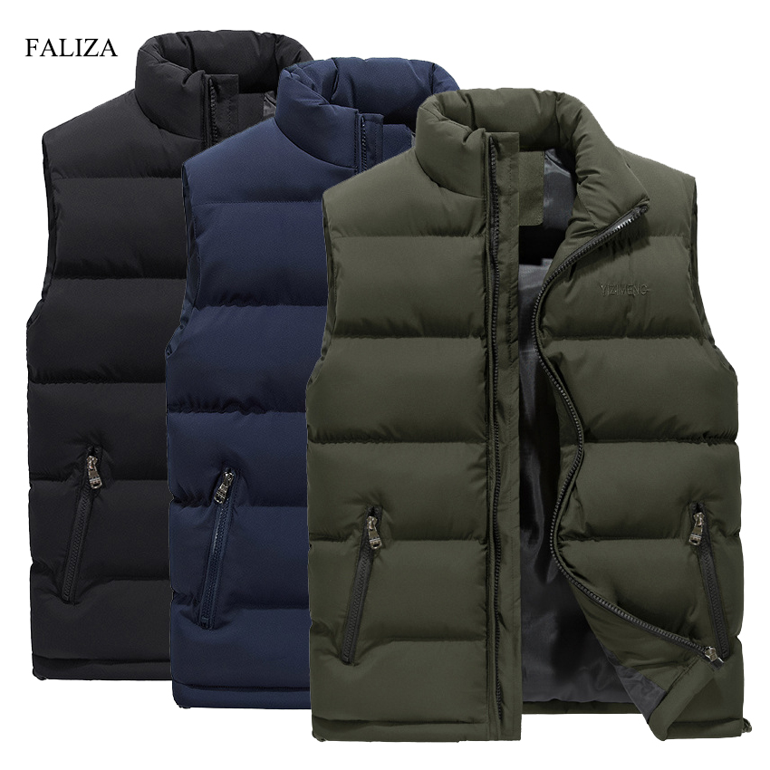 FALIZA New Men's Vest Winter Casual Sleeveless Jacket Down Vest Windproof Warm Waistcoat Casual Coats Plus Size M-6XL MJ104