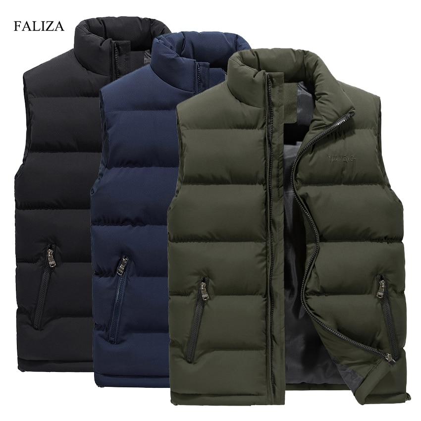FALIZA New Men's Vest Winter Casual Sleeveless Jacket Down Vest Windproof Warm Waistcoat Casual Coats Plus Size M 6XL MJ104-in Vests & Waistcoats from Men's Clothing on AliExpress - 11.11_Double 11_Singles' Day 1