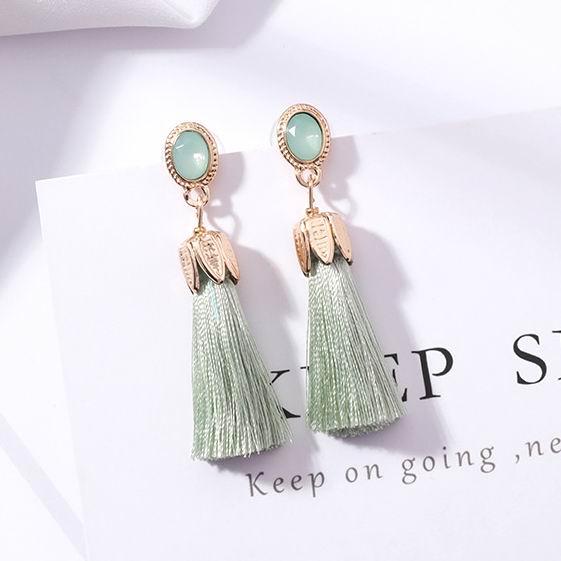 MENGJIQIAO 2018 New Trendy Oval Opal Stone Thread Tassel Earrings For Women Fashion Jewelry Long Drop Pendientes Brincos