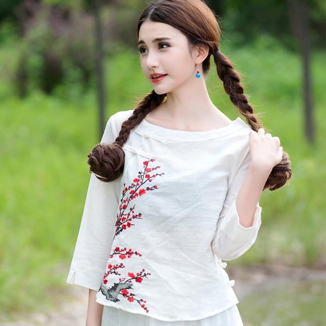 New 2016 Original Design Fashion Spring Women Round Neck Cotton Linen Plum Embroidered Cropped Sleeves White Blouse