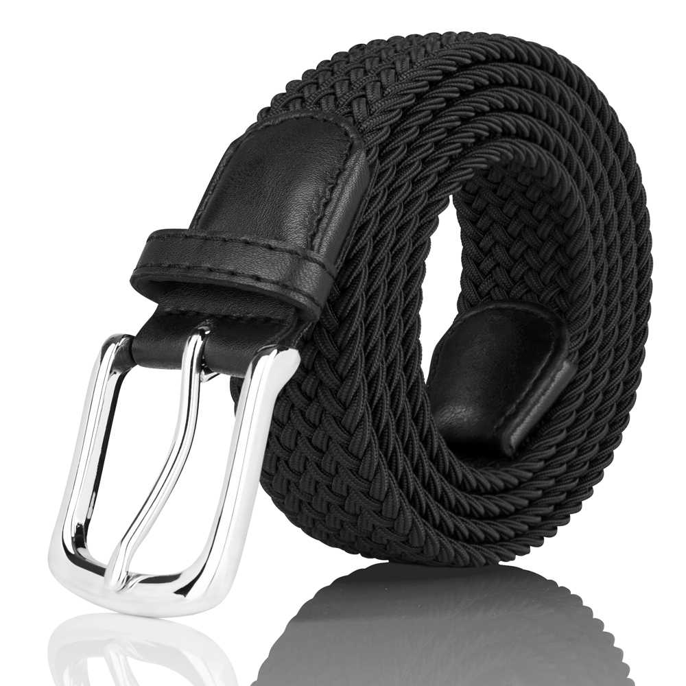 Men's Belts Elastic Fabric Woven Stretch Braided Casual Belts no Hole for Men with Gloss Alloy Buckle in Elegant Gift Box