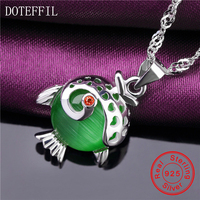 2017 New 925 Sterling Silver Necklace Women Charm Cute Fish Round 10mm AAAA Zircon Pendant Necklace