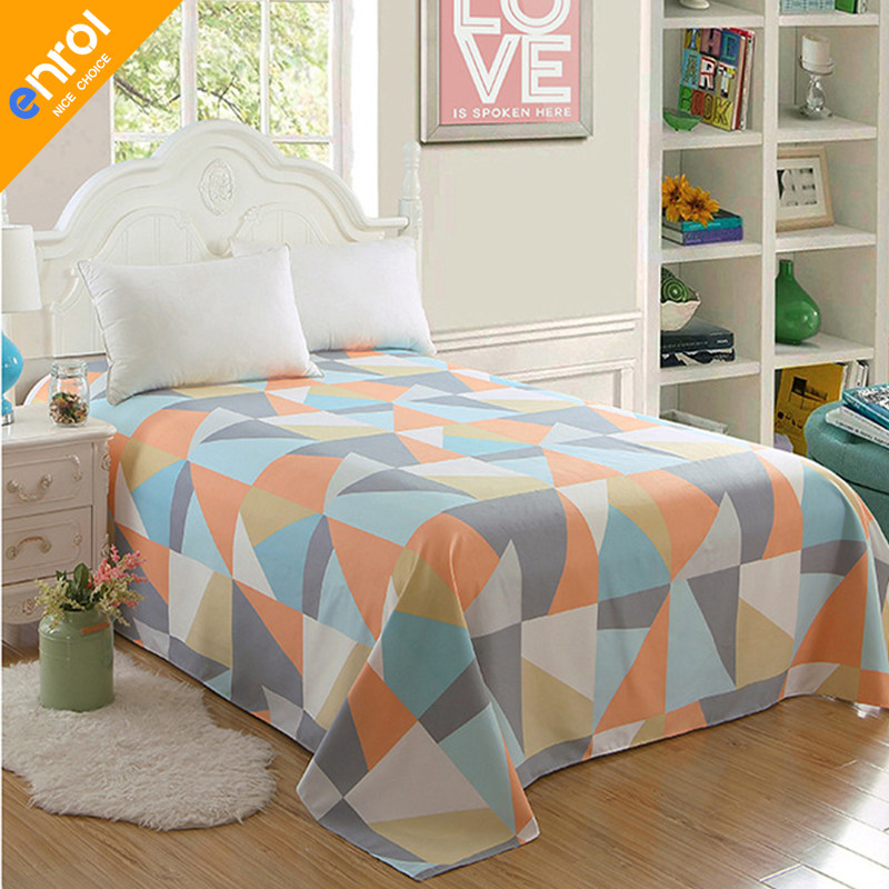 Colorful Twin Flat Sheets King Size Geometric Plaid Cotton Polyester Bed Sheet For Child Kids S Good Quality Lines