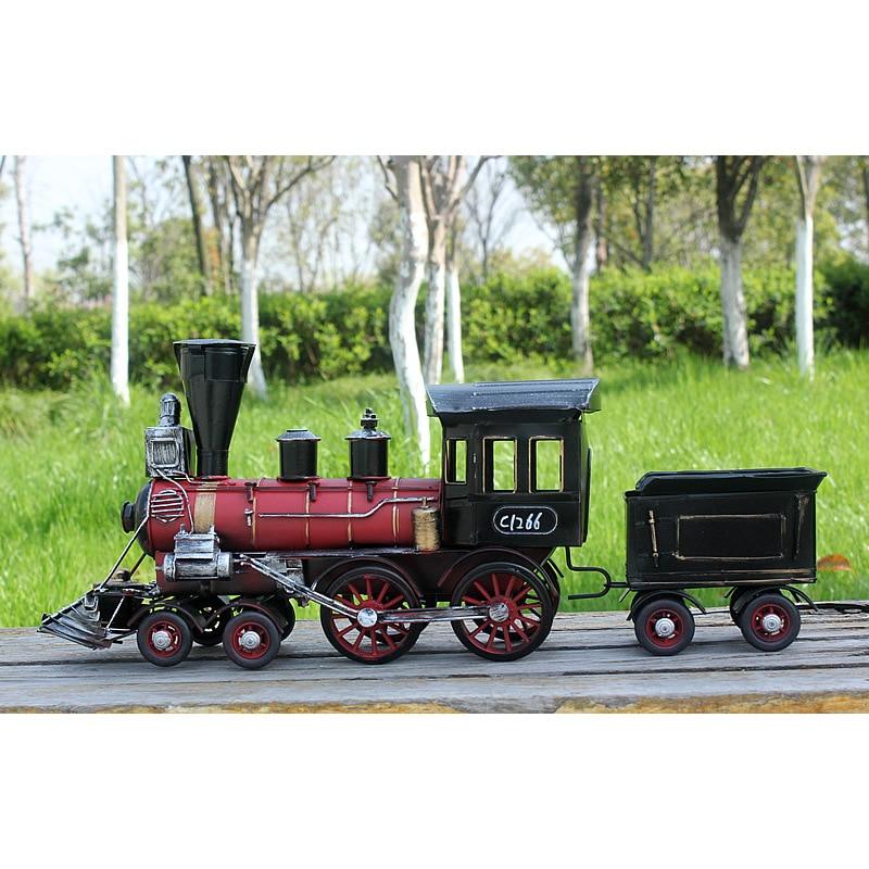Iron Locomotive Vintage Train Model Antique Imitation Collection Decoration Steam Figurine Miniatures Retro Crafts