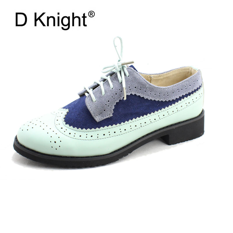 New Women's Mixed Color Genuine Leather Oxfords Vintage Round Toe Lace Up Brogue Oxfords For Women Retro Girl Flat Colloge Shoes new women genuine leather oxfords ladies casual flat oxford shoes vintage cow leather carved brogue oxfords for women size 34 43