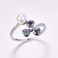 Female   Multi color Rainbow CZ Silver plated Ring engagement rings Fashion Jewelry gift wholesale Size  8 9