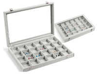 24 Grid Organizer Jewelry Display Rings Holder Box Show Case Earrings Ear Studs Ring Storage Display Boxes 35*24CM