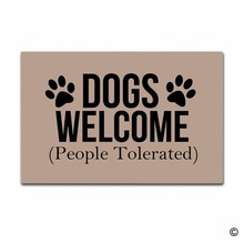Funny Printed Doormat Entrance Mat Enterways Dogs Welcome (People Tolerated) Non-slip 23.6 by 15.7 Inch Machine Washable