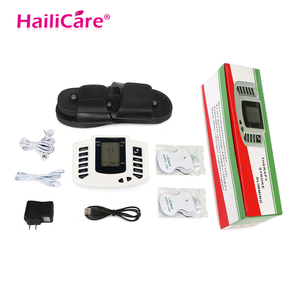 JR309 Body Muscle Massager Electro Stimulator Muscular Relax Pulse Tens Acupuncture Therapy Slipper Electrode Pad Slimming Train hot electric slimming full body relax pulse muscle stimulator tens therapy machine massager vibrateur with 20pcs tens pads