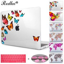 For Macbook New Pro 13 15 inch Case 2016 Model A1706 A1708 A1707 w/out Touch bar Butterfly Floral Print Hard Case Air 13 12 inch