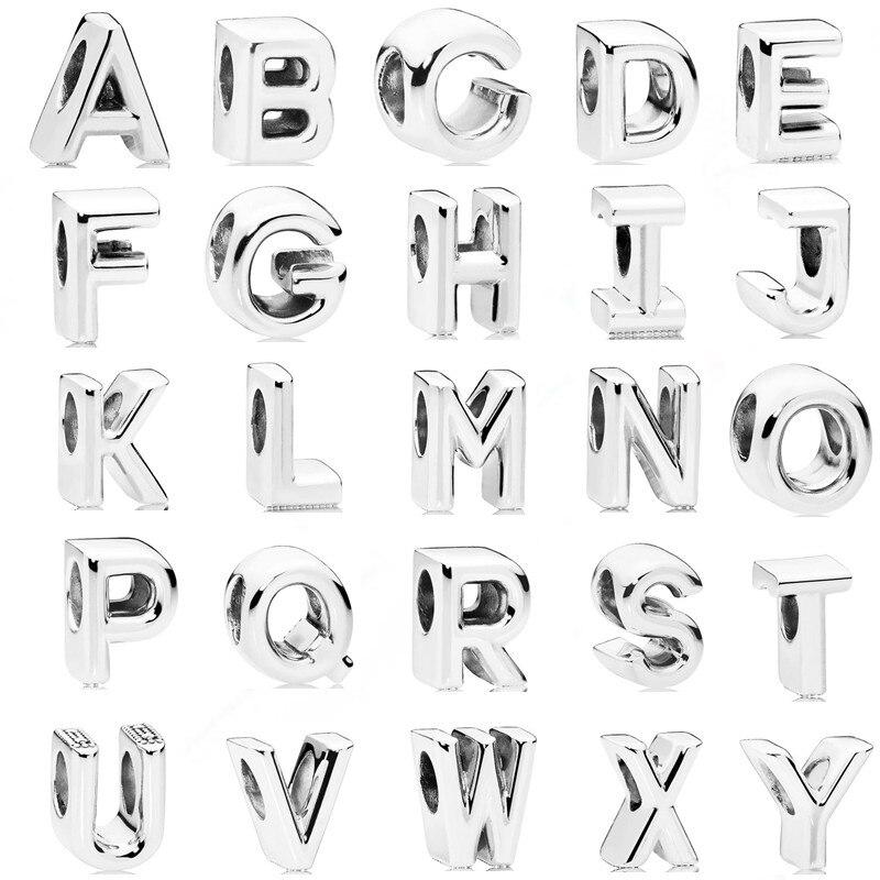 AIFEILI New 1pc Initial Alphabet Letter A-Z DIY Loose Bead Fits Pandora Charms Silver Original Bracelet for Women Jewelry