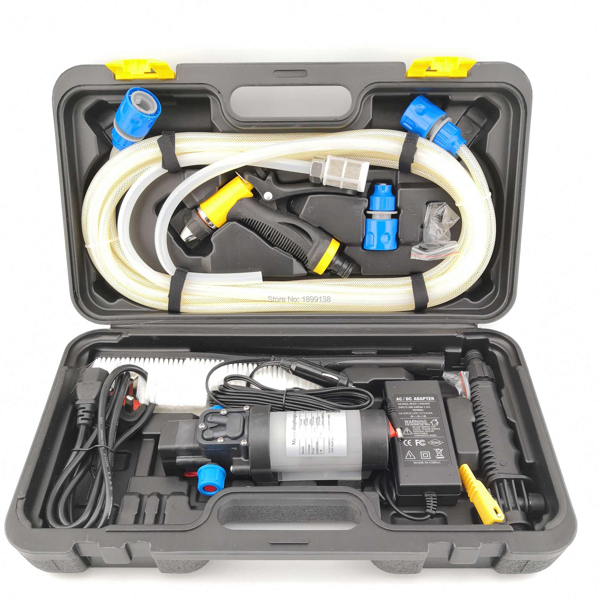 80W Mini High Pressure Car Washer Portable DC 12 Volt 5.5L/min Automatic Pressure Switch Water Pump With 2 Adapters