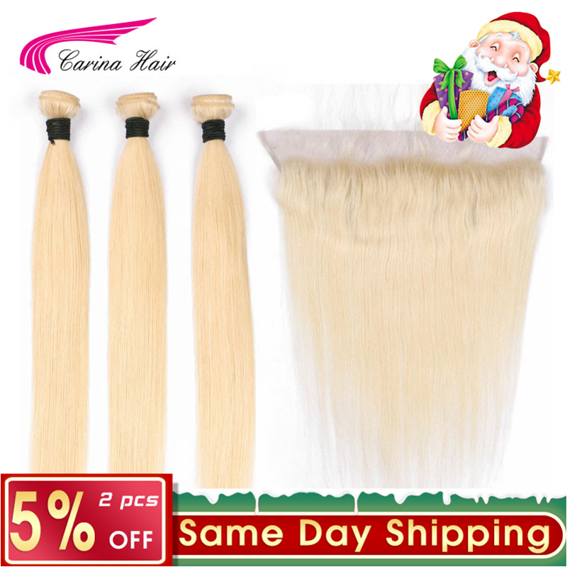 Blond Brazilian Hair Platinum 613 Blonde Hair 3 Bundles with ear to ear Frontal Closure Carina Remy Human Straight Hair Blond
