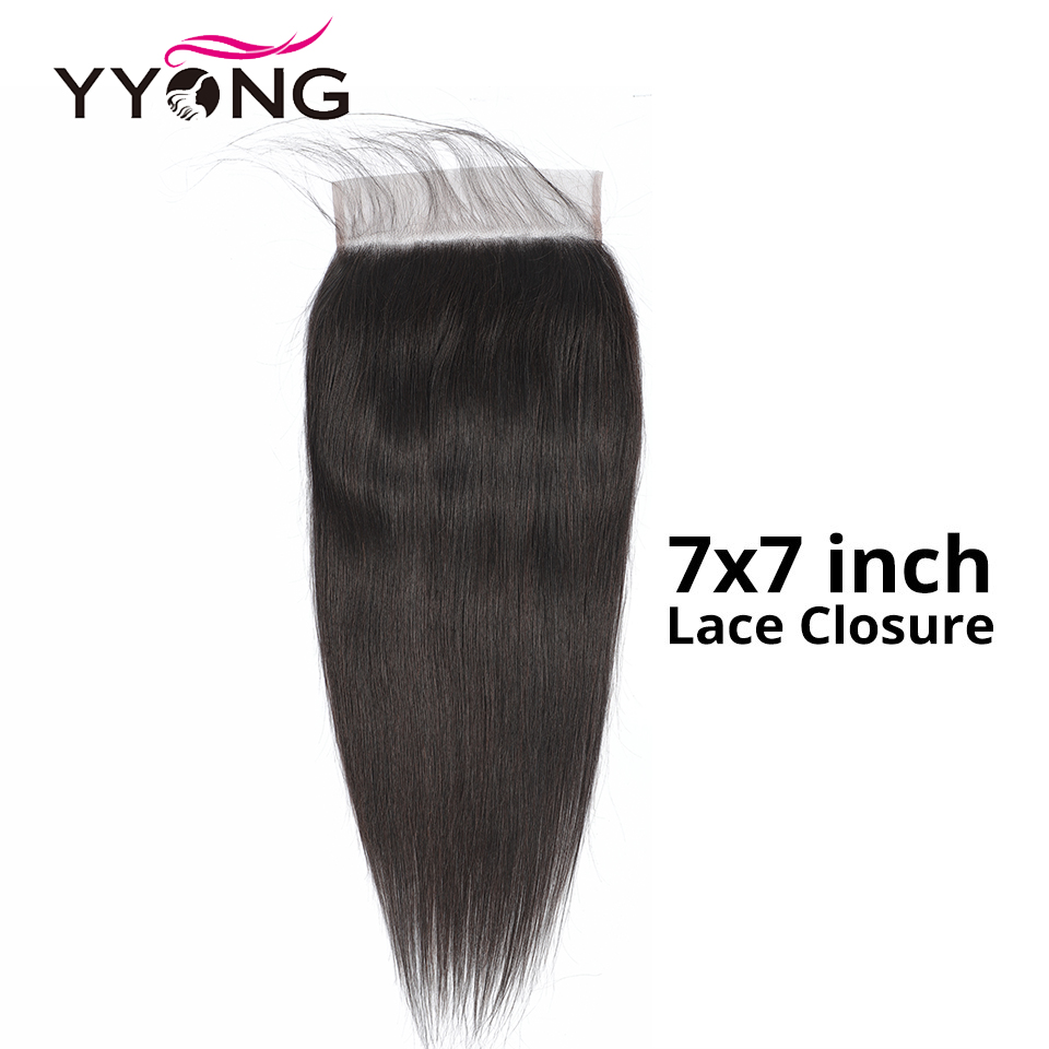 Yyong 7X7 Inch Lace Closure Remy Brazilian Straight Human Hair Lace Closure Free Part Medium Brown Lace With Natural Hairline(China)
