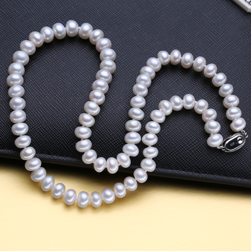 Image 3 - FENASY fine AAAA high quality natural freshwater pearl necklace for women 3 colors 8 9mm pearl jewelry 45cm choker necklace-in Necklaces from Jewelry & Accessories