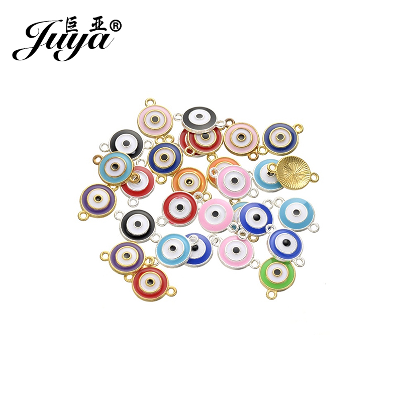 JUYA Jewelry Accessories Gift 25pcs/lot 12x13mm Evil Eye Enamel Charms Connectors For Women Men Diy Bracelet & Bangle AE0040
