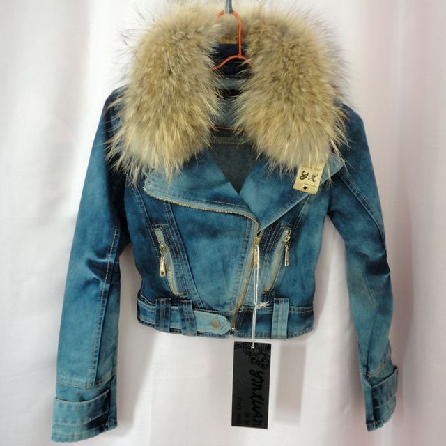 Exclusive special geniune raccoon fur coat women denim jacket with fur winter Locomotive women coat