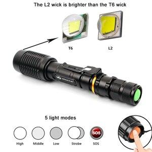 Image 4 - Super helle LED Taschenlampen T6/L2 Taschenlampe wasserdichte zoomable led taschenlampe Für 2x18650 batterien aluminium + ladegerät + geschenk box + Freies geschenk