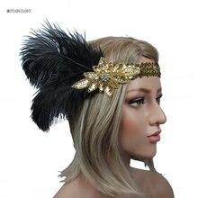 Золотая повязка на голову с черными перьями для девочек свадебная