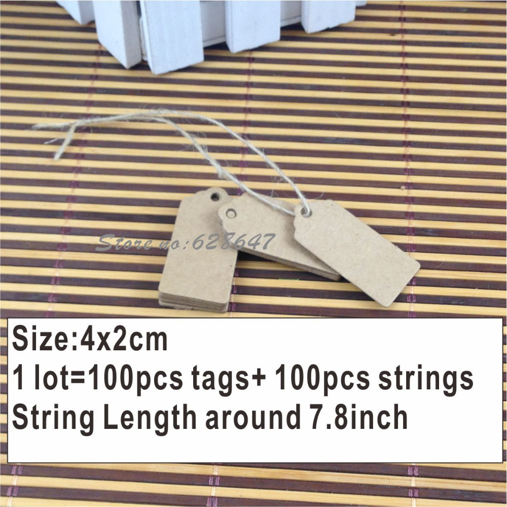 2015 Newest 100X Brown Kraft Paper Tags Lace Scallop Head Label Luggage Wedding Note kraft tag Blank price Hang tag Kraft Gift