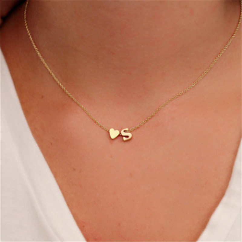 Tiny  Initial Name Choker Necklace 26 Letters &Heart Pendant Necklace Women Collares Collier Gift Jewelry  XL217 (China)