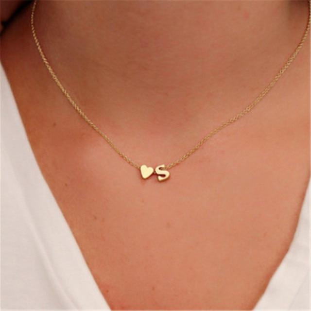 Nhỏ Tên Gọi Ban Đầu Vòng Cổ Choker 26 Chữ Cái & Dây Chuyền Trái Tim Nữ Collares Collier Tặng Bộ Trang Sức XL217