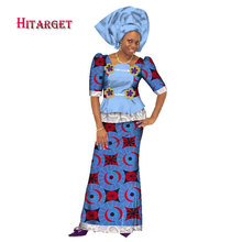 Traditional Women African Splice Embroidery Tops and Skirt Sets with Head Scarf Clothing Bazin Dresses for WY240