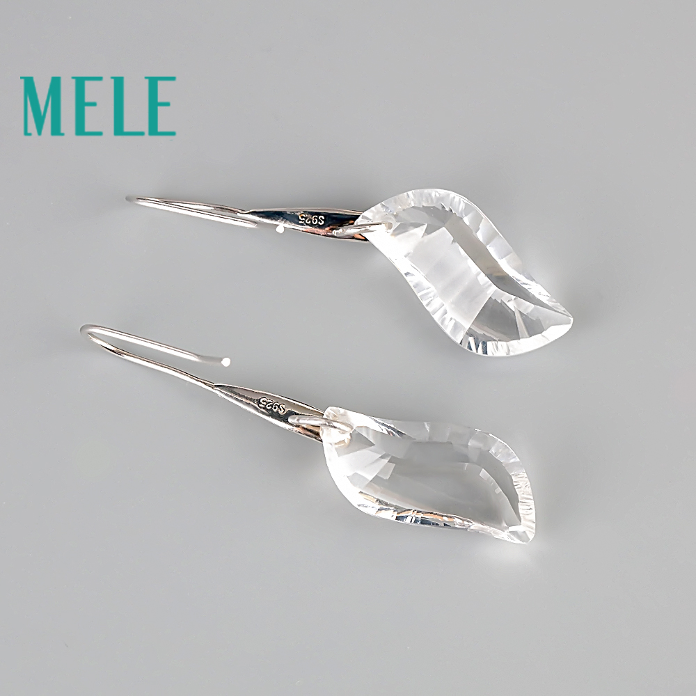 Natural smoky and white quarts 925 silver dangle earrings for women, special design, 10X22mm Contorted quadrilateral fashion