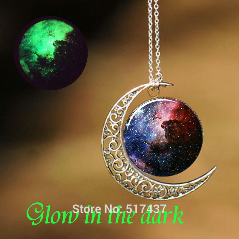 Glowing Necklace Carina Nebula Necklace Art Pendant For Necklace Sliver Glow in The Dark Pendant