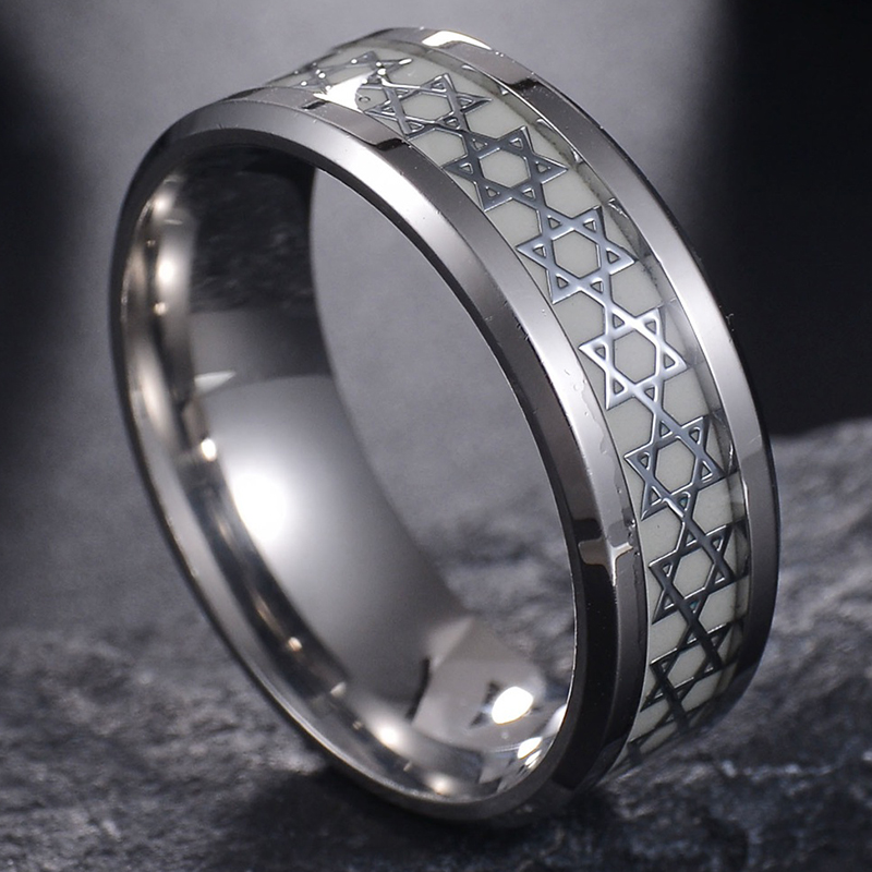Nextvance Luminous David Star Ring 2 Color Stainless Steel Hexagram Ring Military Promise Jewelry Drop Shipping 2