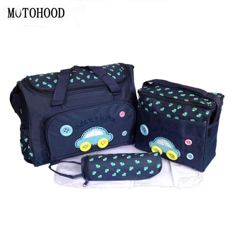 MOTOHOOD 40*29*14cm 4PCS Car Print Mother Bag Baby Diaper Bags Sets Multifunctional Baby Nursing Nappy Bag For Mom Organizer