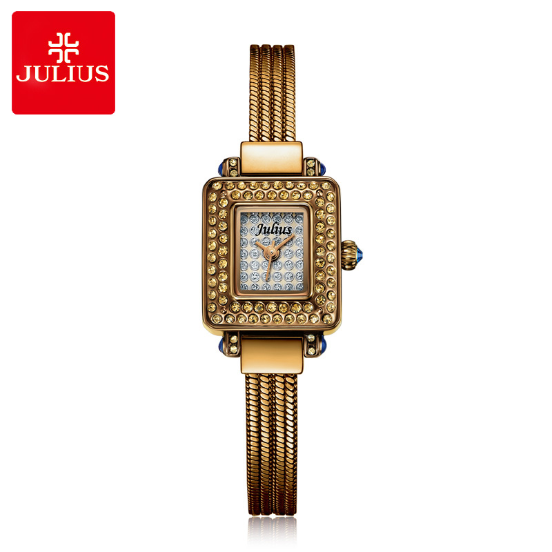 Julius Lady Women's Watch Full of Crystal Japan Quartz Fashion Hours Snake Chain Tassels Bracelet Girl's Clock Gift Box 698 цена