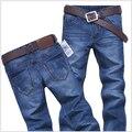 Alta qualidade 2016 calças de Brim dos homens buraco Casuais jeans rasgado homens calça casual Reta jeans para homens denim calças Livres grátis