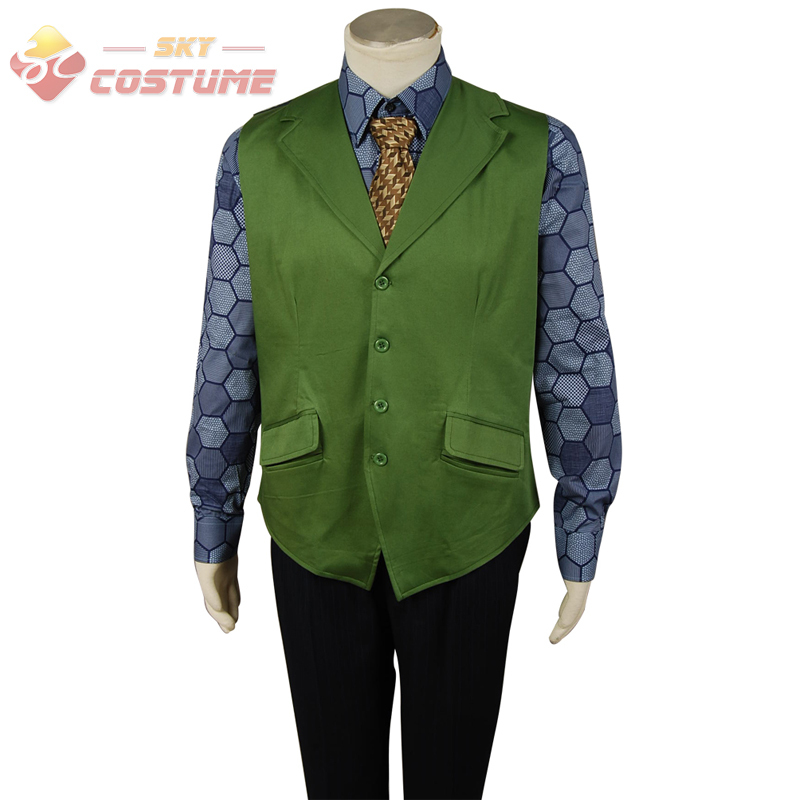 Batman Dark Knight Joker Hexagon Adult Men Shirt + Green Vest Halloween Movie Cosplay Costume