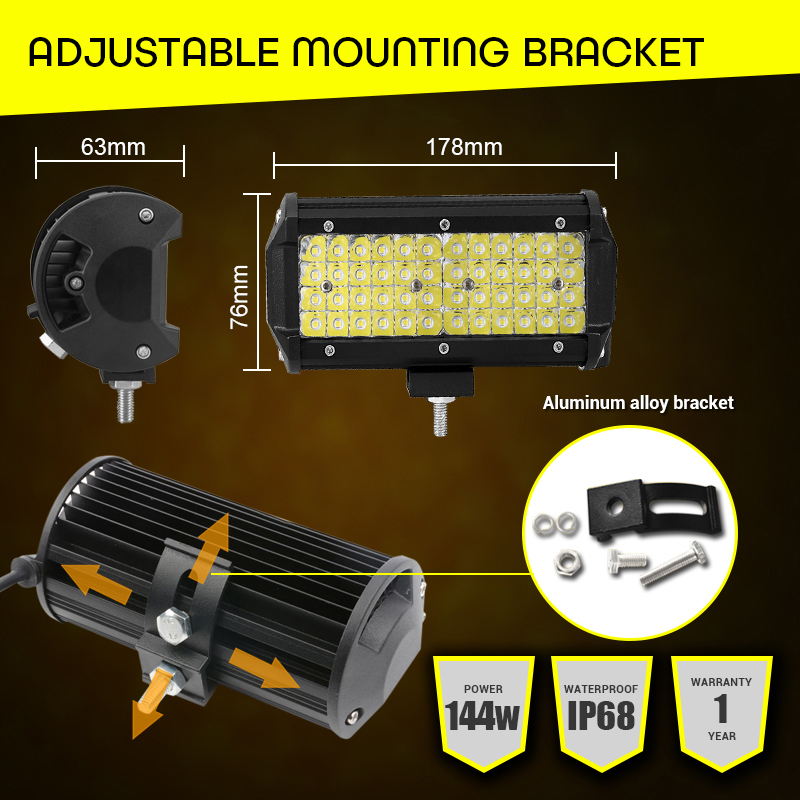 """Image 4 - LED Work Light 7""""12V Led Beams 144W Led Bar Car Off road 4x4 Flood Spotlight Accessories for Motorcycle SUV ATV Tractor led ramp-in Light Bar/Work Light from Automobiles & Motorcycles"""