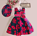 Girls Apparel Summer 2016 New Flower Print Princess Girl Casual Dress With Hat Children Clothing Child Party Dress