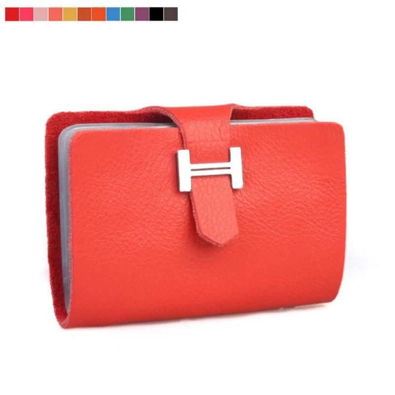 100% Натуральна шкіра візитниця Дамська сумка H hasp ідентифікатор випадку кредитної картки власник зчеплення жіночий картки гаманець
