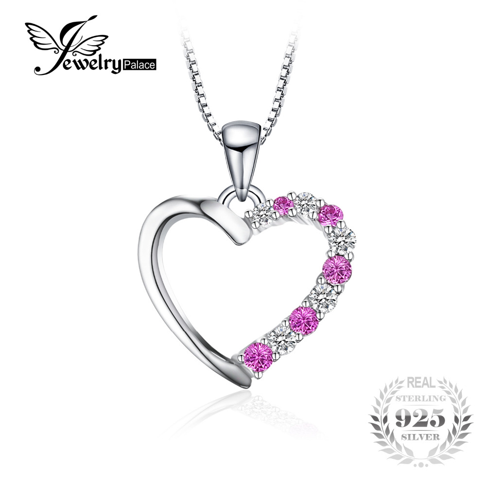 JewelryPalace Created Pink Sapphire Heart Pendant Genuine 925 Sterling Silver Pendants Necklaces Wedding Jewelry Without ChainJewelryPalace Created Pink Sapphire Heart Pendant Genuine 925 Sterling Silver Pendants Necklaces Wedding Jewelry Without Chain